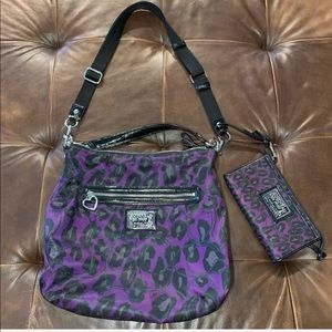 Coach poppy purple leopard crossbody purse